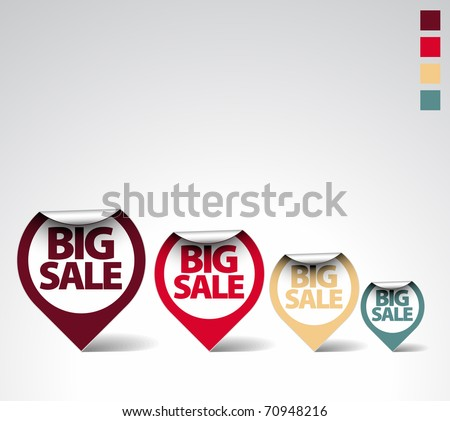 Colorful Round Labels / stickers for big sale - retro colors