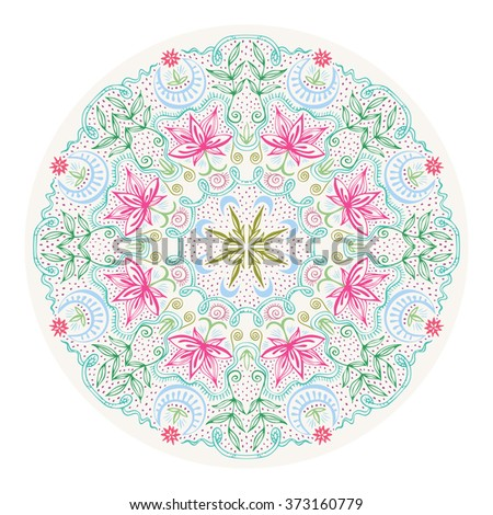 Colorful round lacy tantric ornament. Hand drawn zentangle art with lotuses, moons and plants. Vintage design element for decor and t-shirt fashion design. Spirituality and magic concept. Vector EPS8 - stock vector