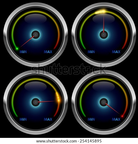 Colorful round meter gauge isolated on black background. - stock vector