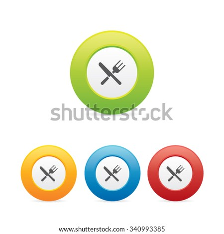 Colorful Round Restaurant Icons - stock vector