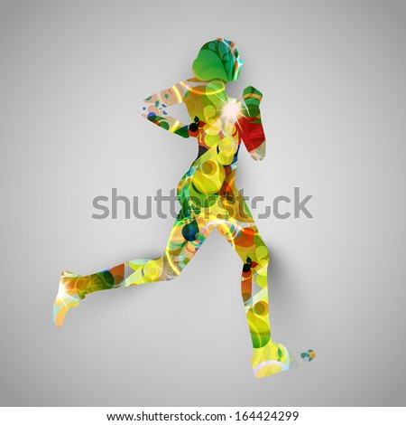 Colorful runner vector illustration - stock vector