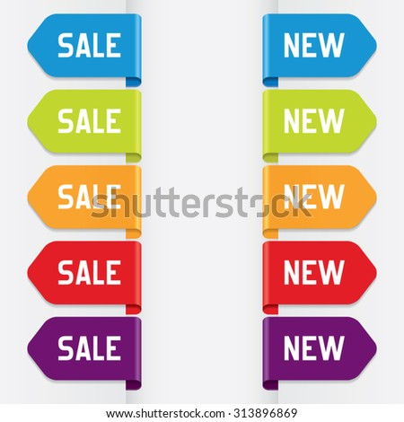 Colorful Sale and New Ribbons - stock vector