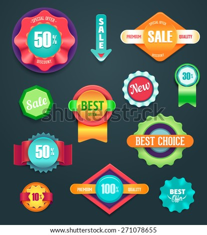Colorful sale and premium quality labels - stock vector