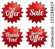 Colorful sale, best offer, special offer, thank you tags set. Red label stars. Icons for special offer. - stock vector