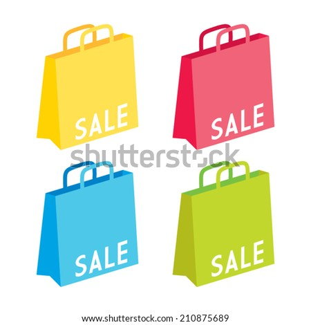 Colorful Sale Goodie Bags - stock vector