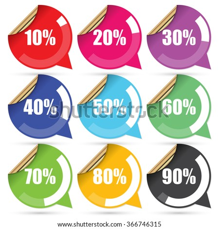 Colorful Sale 10 - 90 Percent OFF Discount Label Tag Isolated on White Background. Vector - stock vector