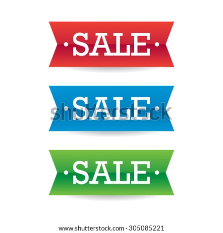 Colorful Sale Ribbon Labels - stock vector