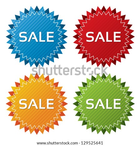 Colorful sale tags with texture collection (vector). Icons set. Sale labels illustration (blue, green, red, orange). - stock vector