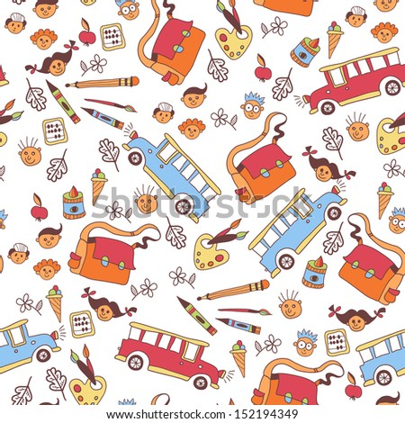 Colorful school pattern. Seamless pattern with school supplies.  - stock vector