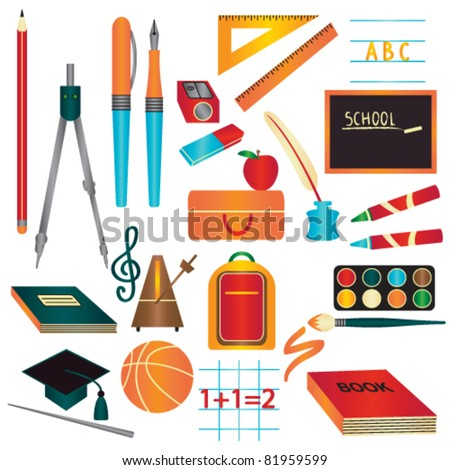 Colorful school supplies design element set