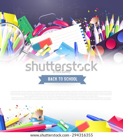 Colorful school supplies on the blackboard - back to school background with place for your text