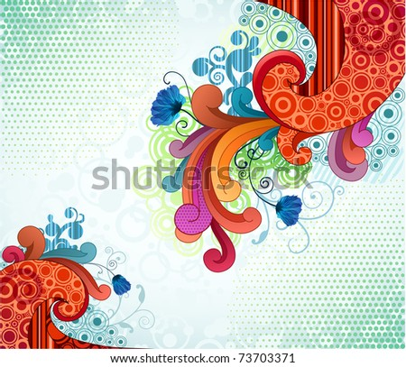 Colorful scrolls and florals - stock vector