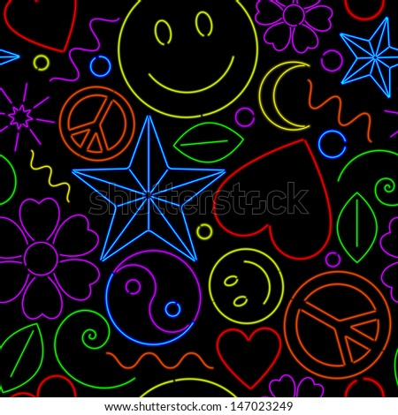 Colorful seamless background of various neon symbols - stock vector