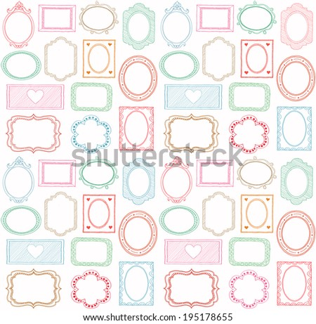 Colorful seamless doodle frame set  - stock vector
