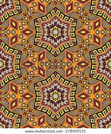 Colorful seamless ethnic pattern background - stock vector