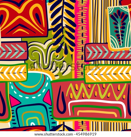 Colorful seamless ethnic pattern. Hand-drawn, retro, doodle, vector, zentangle tribal design