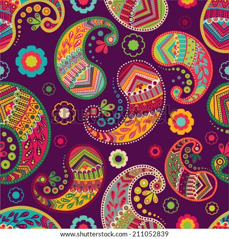 Colorful  seamless paisley pattern  - stock vector