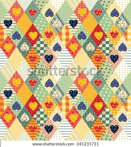 Colorful seamless patchwork pattern with rhombuses and hearts. Beautiful vector illustration of quilt.  - stock vector