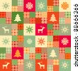 Colorful seamless patchwork style background christmas traditional motifs - stock