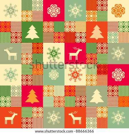 Colorful seamless patchwork style background christmas traditional motifs - stock vector