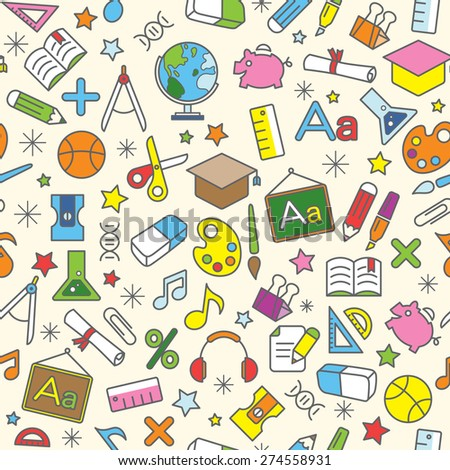 Colorful Seamless Pattern background of school and education icons design elements - stock vector