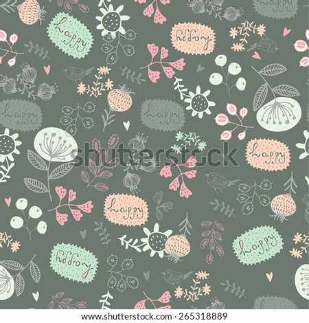 Colorful seamless pattern. Floral background.  - stock vector