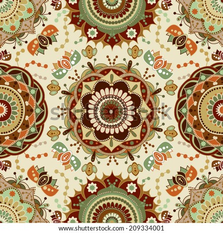Colorful seamless pattern in vintage style - stock vector