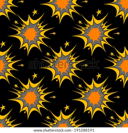 Colorful seamless pattern of explosions or incendiary bursts on a black background in square format, vector design