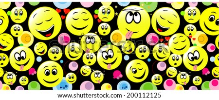 Colorful seamless pattern of smiley on black. Background for web, wallpaper and design. - stock vector