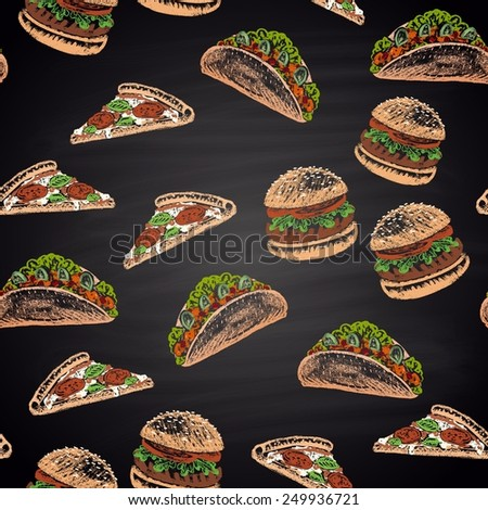 Colorful seamless pattern pizza, taco, burger.  - stock vector