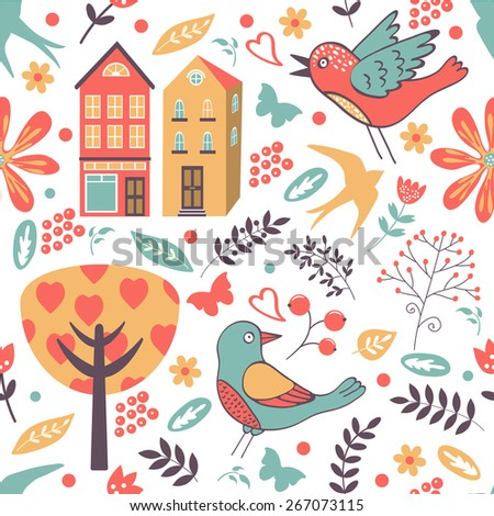 Colorful seamless pattern with birds, flowers and houses