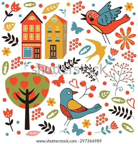 Colorful seamless pattern with birds, flowers and houses. vector illustration