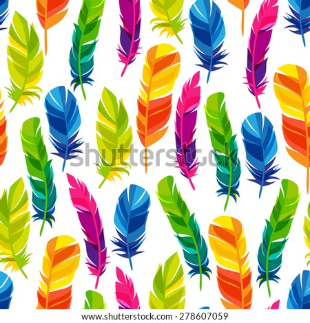 Colorful seamless pattern with bright abstract transparent feathers. - stock vector