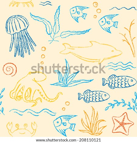 Colorful seamless pattern with crayon sea animals