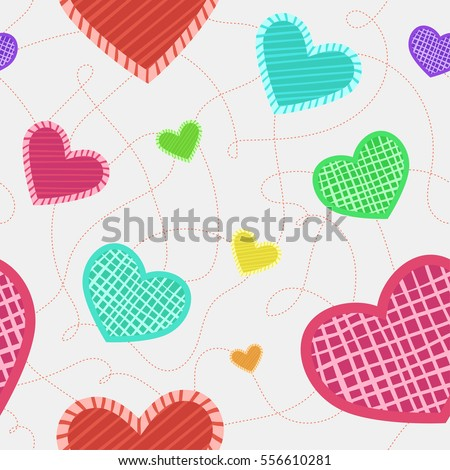 Colorful seamless pattern with different hearts. Background with hearts for Valentine's Day.  Vector pattern with red, green, blue, yellow, pink, red, violet and orange hearts. Cute textile.