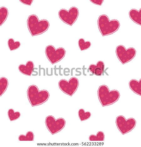 Colorful seamless pattern with different hearts on white background. Background with hearts for Valentine's Day.  Vector pattern with pink hearts. Cute textile.