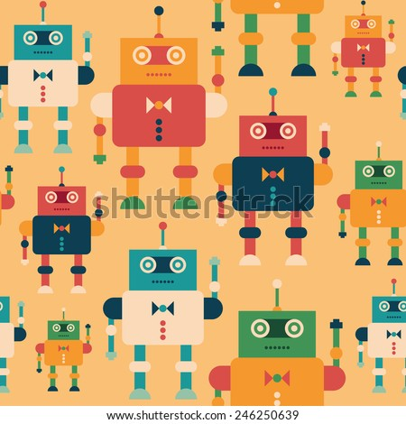 Colorful seamless pattern with elegant robots. - stock vector