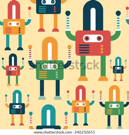 Colorful seamless pattern with friendly robots. - stock vector
