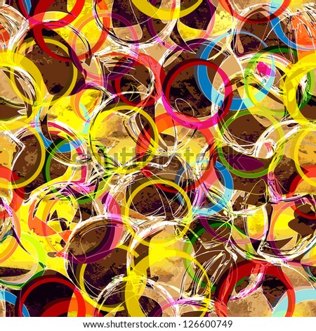 Colorful seamless pattern with grunge circles an stains - stock vector