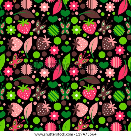Colorful seamless pattern with nature elements