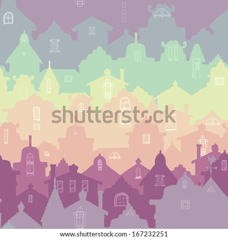 Colorful seamless pattern with old houses. - stock vector