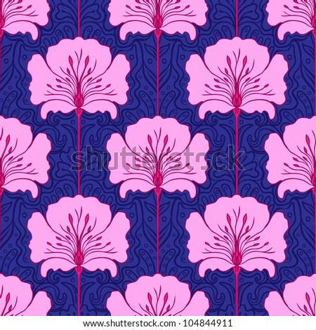 Colorful seamless pattern with pink flowers on blue background. Art nouveau style. - stock vector