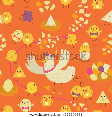 Colorful seamless pattern with the stylized hen, chicken and eggs. Childrens illustration - stock vector
