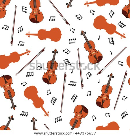 Colorful seamless pattern with violins and notes on white background. Art vector illustration - stock vector