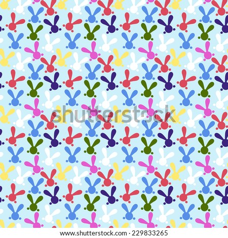 Colorful seamless patterns with easter bunny. Vector illustration for funny holiday design. Cute wallpaper with rabbits. White, yellow, red, green, pink, black, blue colors. - stock vector