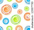 Colorful seamless tangles pattern on white background - stock vector