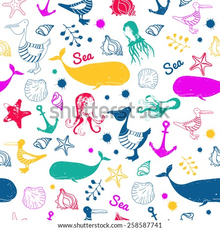Colorful seamless vector pattern. Sea animals.  Nautical background with pelican, a whale, seashells, seagulls, octopus.