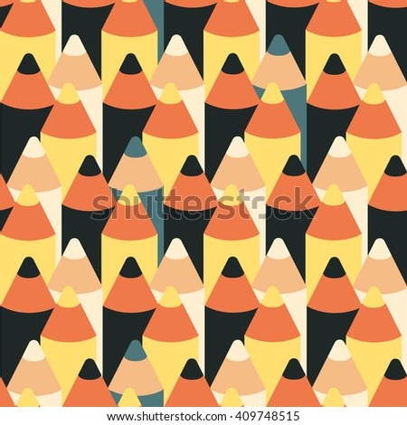 colorful seamless vector pattern with  pencils - stock vector