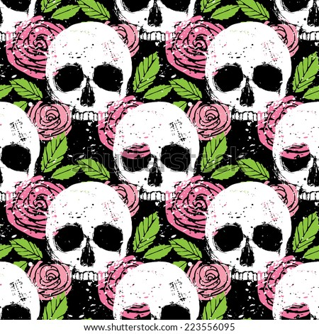 Colorful seamless vector pattern with white skull, green leaf and pink rose, beautiful background in grunge style  - stock vector