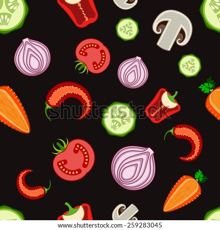 Colorful seamless vegetable background - stock vector
